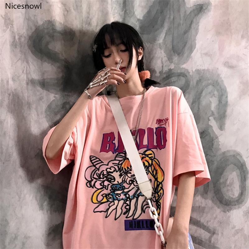 Vintage Loli Girl Loose camiseta femenina coreana Harajuku mujeres camisetas Tops japonés Kawaii Ladies Ulzzang ropa para mujeres