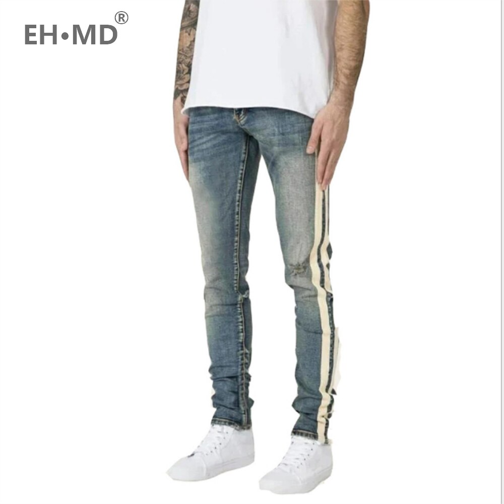 EH · MD® Side Double Stripe Jeans Men's Trend Knee Hole Hole Straight Denim Trousers Slim Feet Bleached Old 2020 New Light Blue