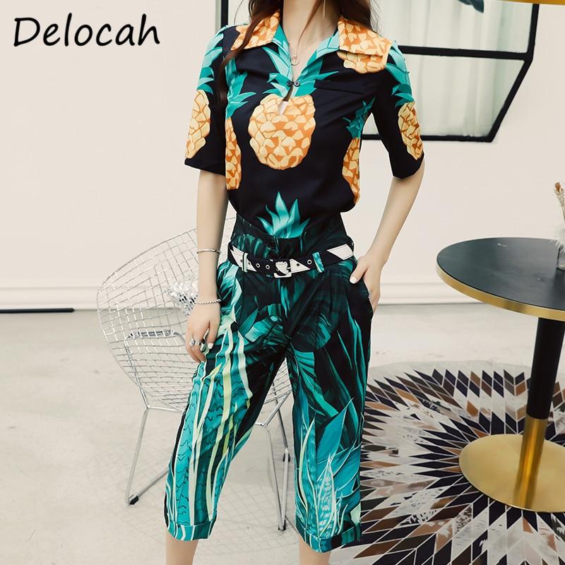 Delocah الصيف موضة مصمم المرأة مجموعة نصف كم النبات نمط المطبوعة خمر ثلاثة أرباع السراويل قطعتين الدعاوى