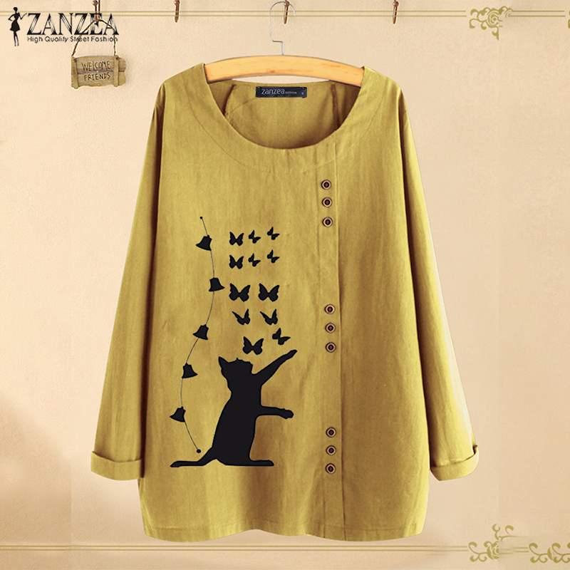 2020 ZANZEA, Blusa con estampado de gato para mujer, Blusa informal de moda para otoño, camisetas de manga larga, Túnica de trabajo para mujer, Blusa de talla grande Chemise 7