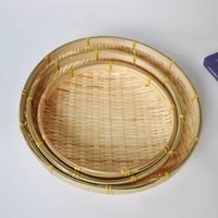 30cm bamboo fruit dish rattan bread basket for dinner storage plate handmade weave round sundry container kitchen storage tray