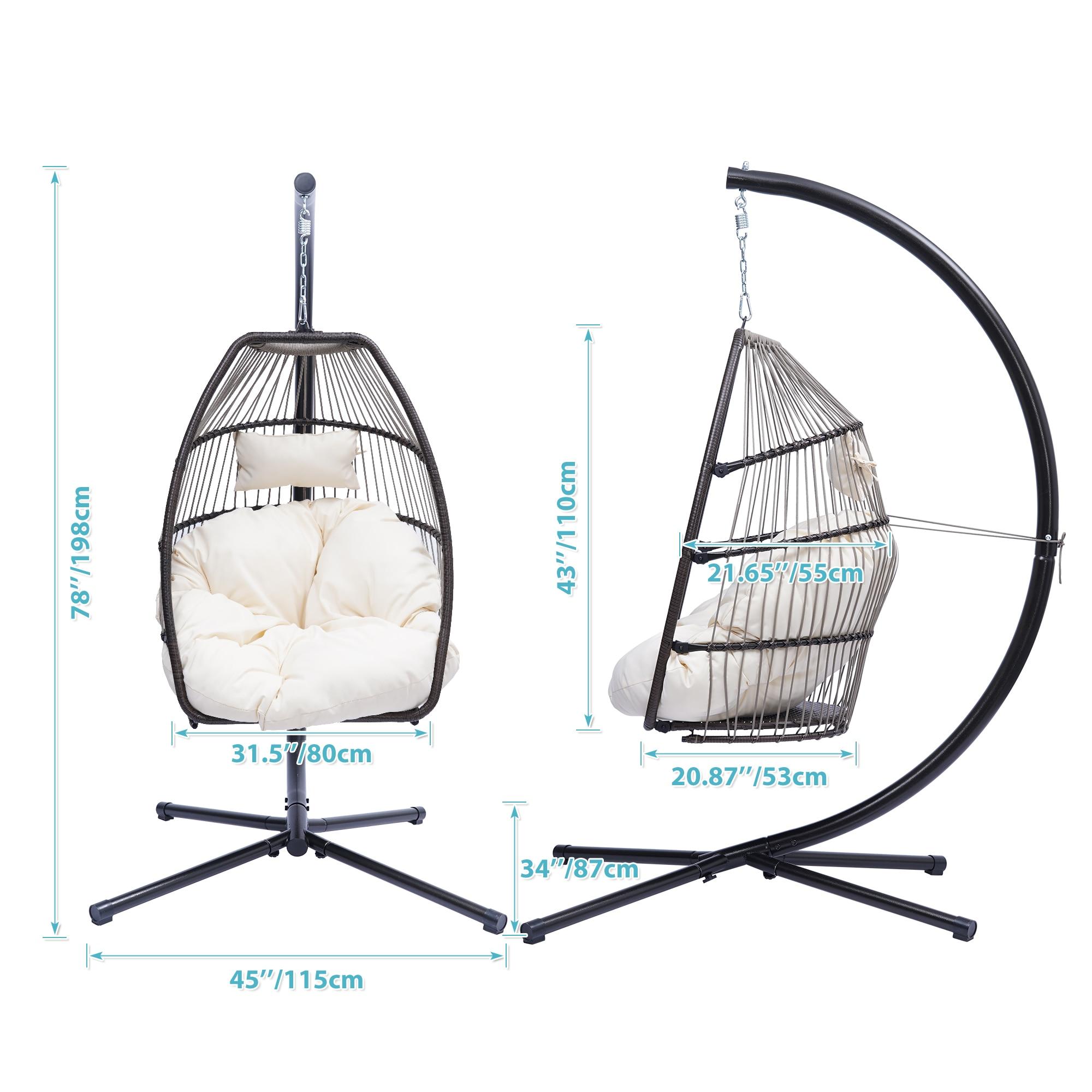 في الهواء الطلق الخوص للطي كرسي معلق الروطان أرجوحة أرجوحة كرسي على شكل بيضة مع C نوع قوس حديقة كرسي