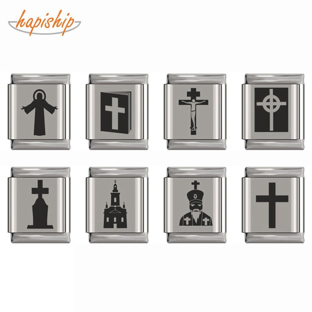Hapiship, abalorio de moda Original con Margarita religión, colgante de la Diosa, pulsera de acero inoxidable de 13mm, fabricación de joyas DJ177