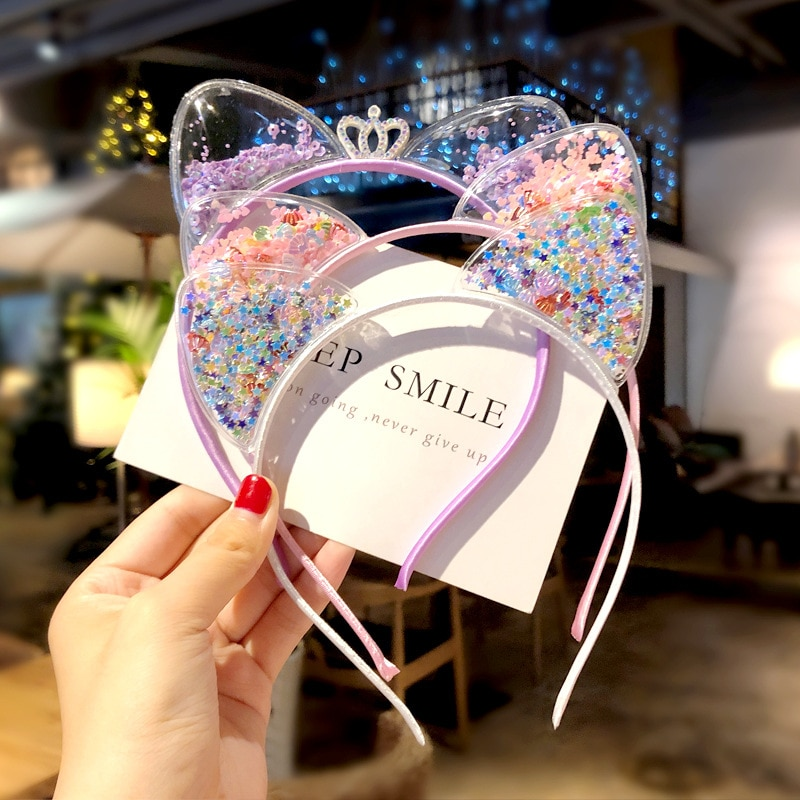 2020 Baby Cute Girls Sequins Cat Ear Design Headband Headwear Star Sequin Flow Sofa Hoop Apparel Photography Prop Party Gift