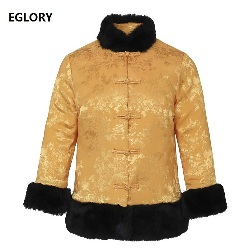 Top Quality Brand Parka Jackets 2020 Winter Parka Women Exquisite Embroidery Warm Fur Patchwork Single Breasted Red Yellow Coats