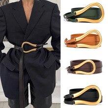 Cinturones de hebilla de herradura para mujer, decoración de Vestido vaquero, adorno de mujer, faja de moda de estilo europeo, cinturón de abrigo de aleación/PU para mujer