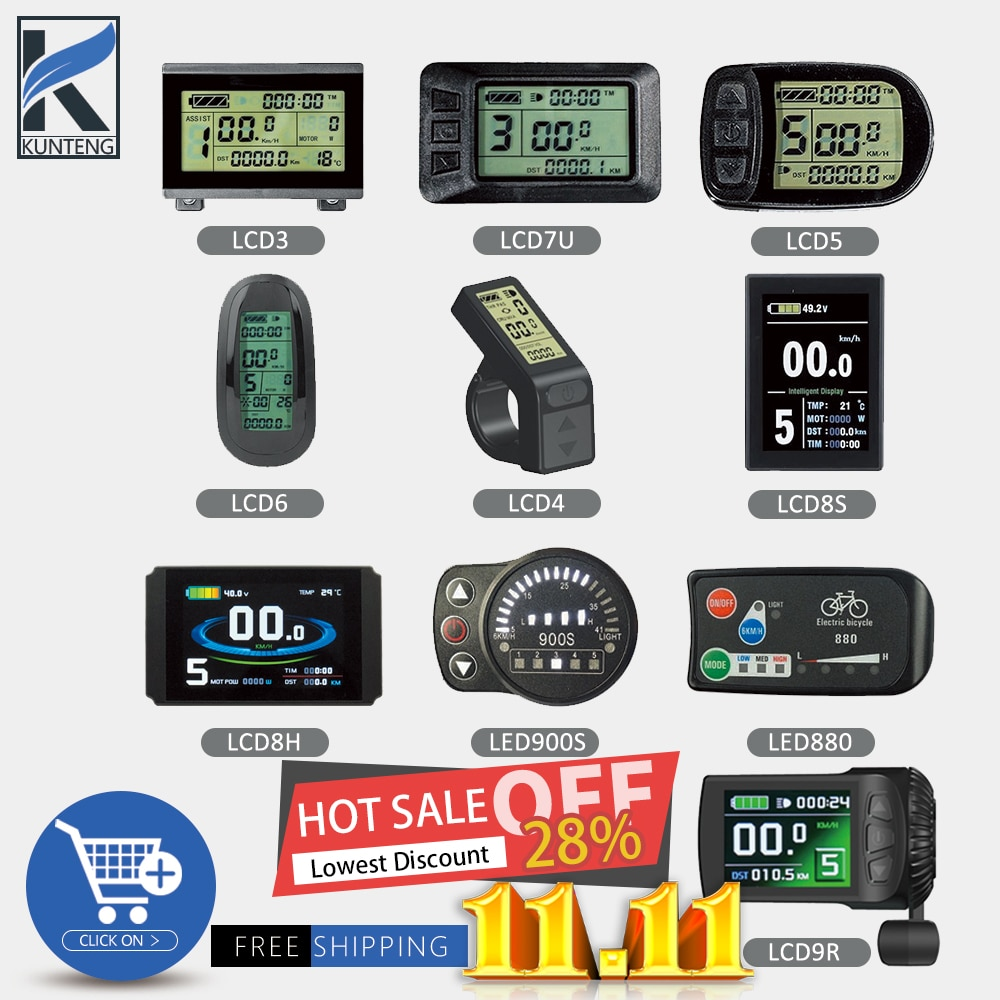 Electric Bicycle KT Display LCD3 LCD4 LCD5 LCD6 LCD7 LCD8H LCD8S LCD9R LED880 LED900S 24V/36V/48V/72V For Kunteng Ebike Display