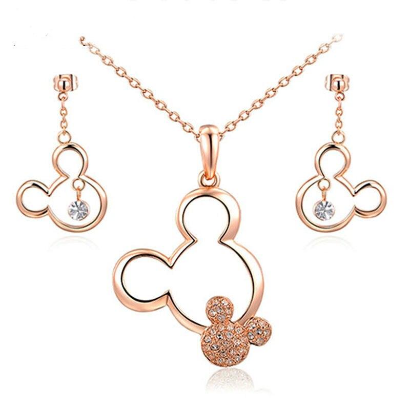 Jingyang-Conjunto de collar con colgante de Mickey para mujer y niña... juego...