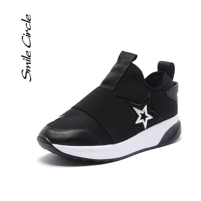Smile Circle Women Sneakers Flat Platform shoes 2019 Autumn Breathable  Casual cloth Lazy shoes Ladies black
