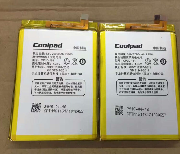 For Coolpad High Quality Original CPLD-161 8722V 8722 mobile phone battery 2000mAh Replacement Parts