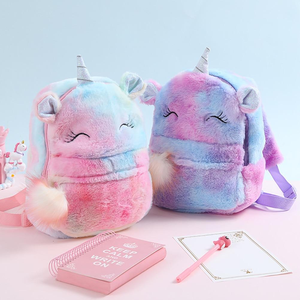 School Children's Unicorn Student Gifts Children's Plush Bag Backpack Bag Cartoon Unicorn Bag School Rucksack Cute Bag Plush Chi