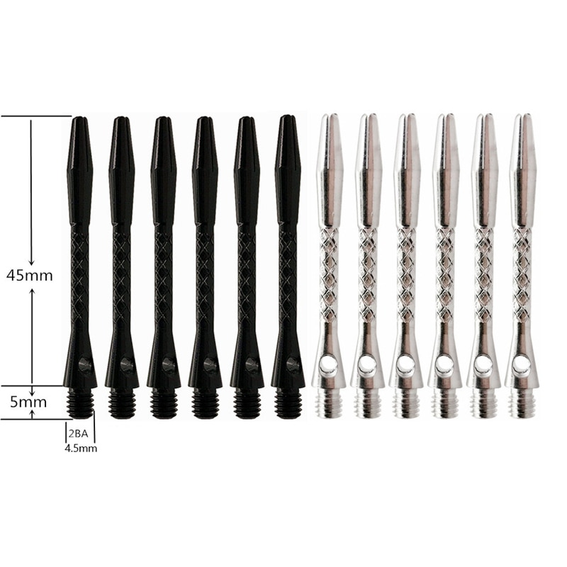 New High-quality 6Pcs/Lot Darts Shaft Aluminium Alloy Material 45mm Shafts Silvery White and Black Two Colour