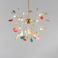 nordic color branch agate chandelier living room bedroom creative home decoration carnelian chandelier ceiling interior lighting