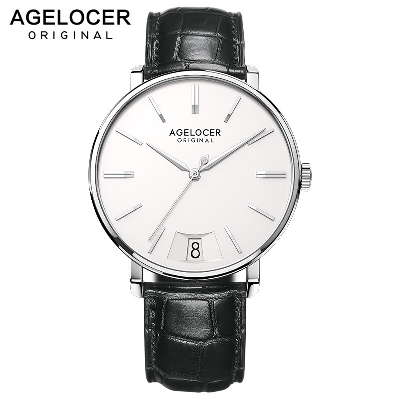 AGELOCER رجالي ساعات فاخرة أفضل ماركة مقاوم للماء ساعة رجالي Sappire رقيقة جدا 7 مللي متر كوارتز رجل ساعة اليد XFCS