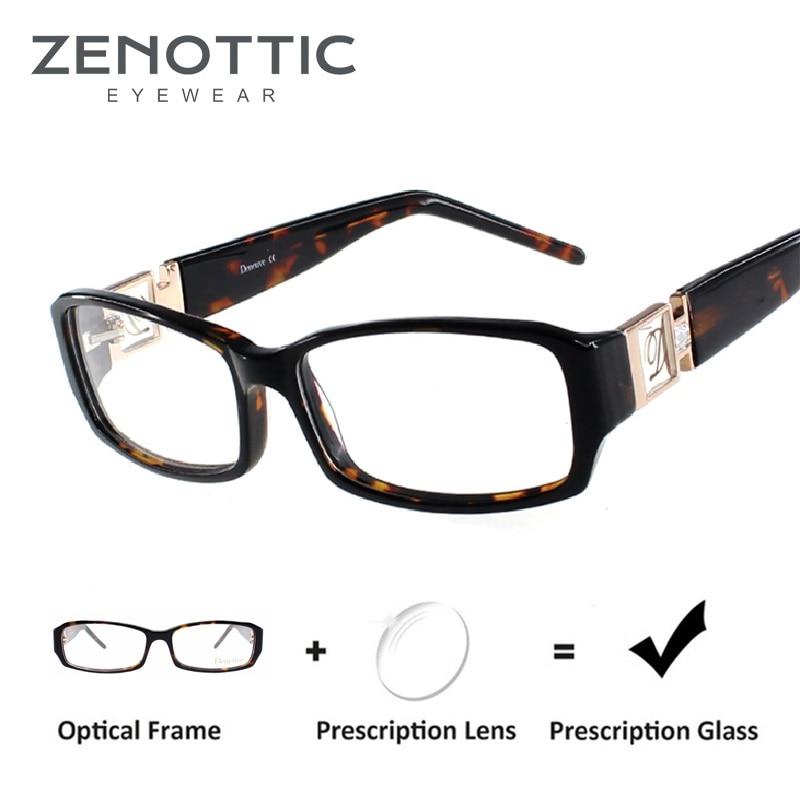 ZENOTTIC Acetate Prescription Glasses Frame Women Rectangle Optical Myopia Spectacle Luxury Brand De