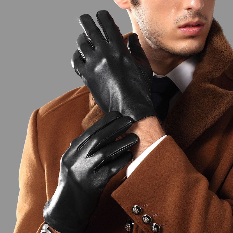 Genuien Leather Male Gloves Spring Autumn Thin Driving Sheepskin Gloves Man Fashion Simple Classic Black Leather Gloves TU0625A man s real leather gloves thin spring autumn driving sheepskin gloves male unlined fashion simple free shipping te0625a