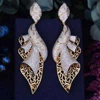 missvikki cz bridal long big pendant earrings for women bridesmaid pendant wedding jewelry top quality european style