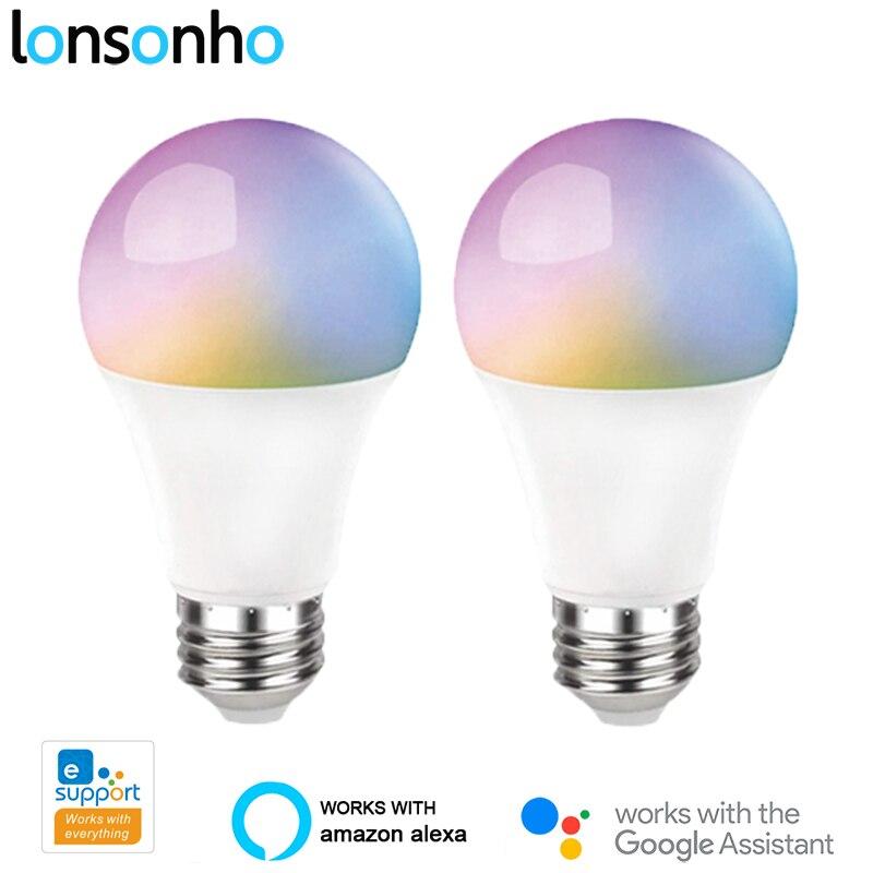 Lonsonho 2 uds eWeLink WiFi bombilla de luz inteligente lámpara Led E27 10W RGB + C + W temporizador atenuable Control remoto inalámbrico Alexa Google Home