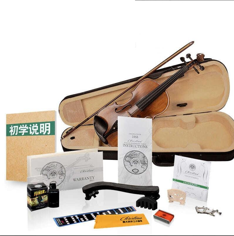 Christina Full Size 4/4 Violin Natural Acoustic 5 Years Solid Wood Violin Fiddle for Beginner with Case Professional Violin enlarge