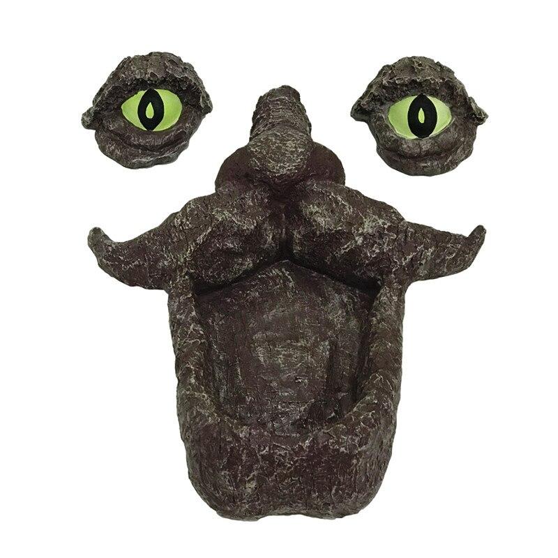 Alimentador de ave salvaje de resina con cara de árbol y ojo grande, alimentador fluorescente, escultura Hugger de árbol para decoración de exteriores y jardines JSYS