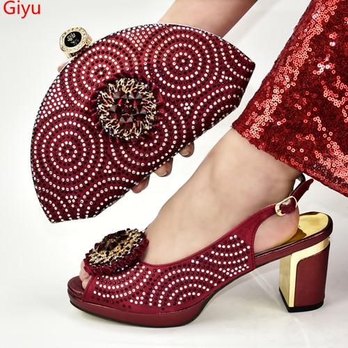 Doershow-حذاء إيطالي وحقيبة مطابقة ، أحذية نبيذ إيطالية مع حقائب مطابقة ، أحذية زفاف وحقيبة عالية الجودة! SKJ1-8