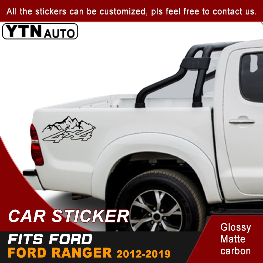 Car Stickers Left And Right 4x4 Moutain Off Road Sticker Decal Vinyl For Ford Ranger Pickup And Truck Adventure Mud Car Decal