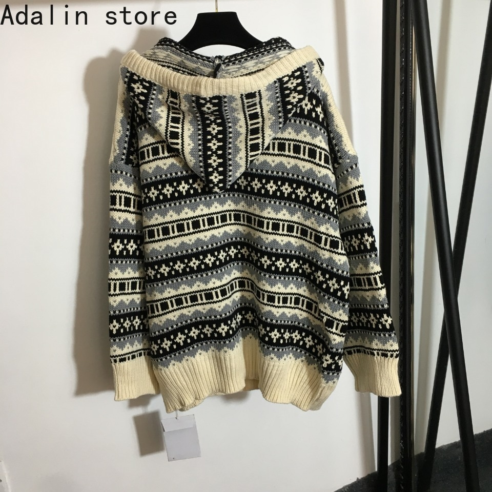 2021 high quality autumn and winter fashion women's retro pattern V-Neck long sleeve hooded Pullover temperament knitted sweater enlarge