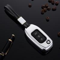 Aluminum Alloy Car Flip Key Case Remote Cover Shell For Renault Koleos Kadjar 3 Buttons Folding Keys Car Styling