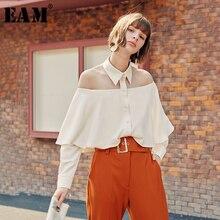 [EAM] femmes sans bretelles à volants dos nu Blouse nouveau revers à manches longues coupe ample chemise mode marée printemps automne 2020 1B148