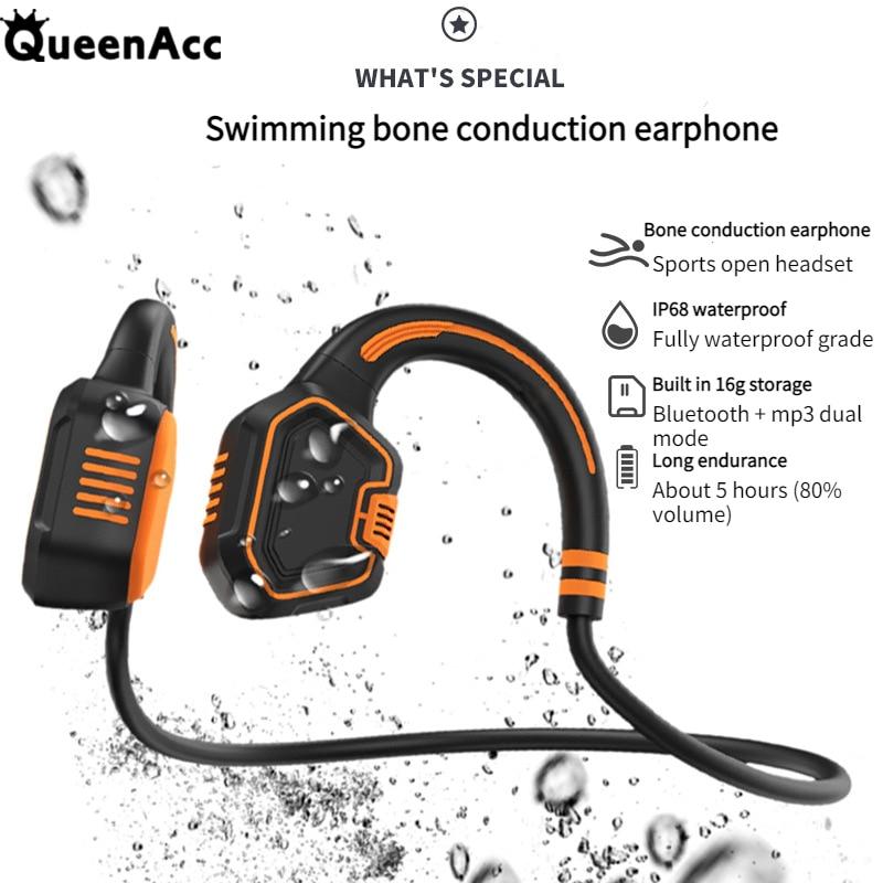 QueenAcc AS9 العظام التوصيل السباحة سماعة بنيت في 16G IPX68 مقاوم للماء بلوتوث 5.1 اللاسلكية سماعة HIFI باس ستيريو