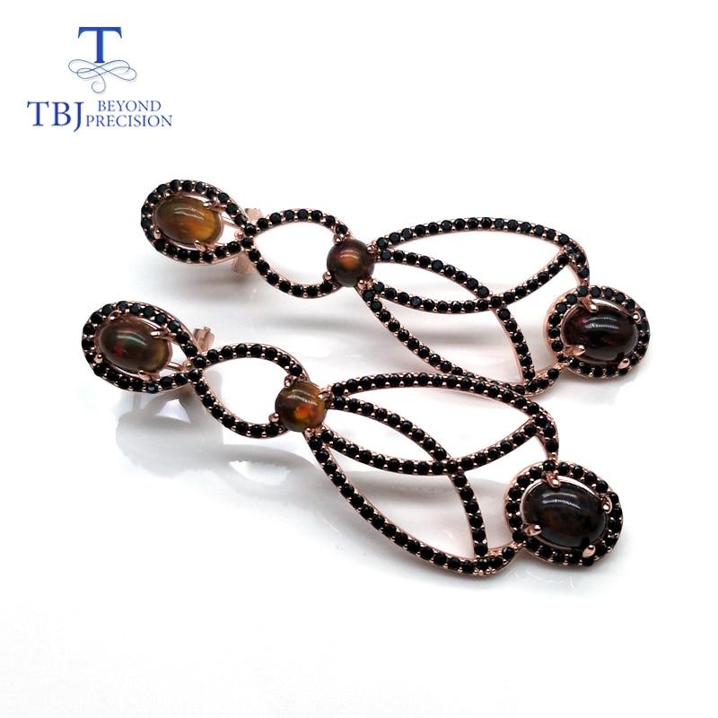 جديد طويل نمط القرط الطبيعية الاثيوبية العقيق الأسود مباراة الأسود الزركون في 925 فضة غرامة مجوهرات للنساء الزفاف