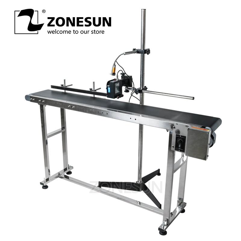 ZONESUN-ناقل للطابعة النافثة للحبر ، طاولة النقل ، منضدة الاختبار ، PVC ، الحزام الناقل ، صندوق الزجاجات ، الملصق