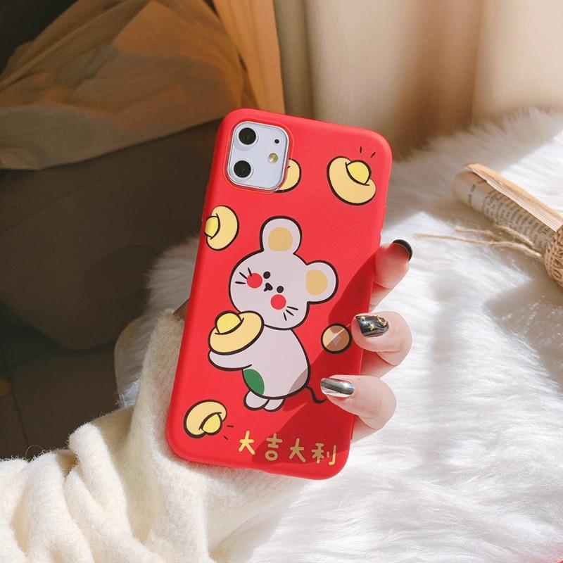 2020 Año Nuevo, funda roja de ratón de la gran suerte para iPhone 11 11PROMAX 11PRO 7 8 7Plus 8Plus X XS XSMAX XR, funda suave de alta calidad