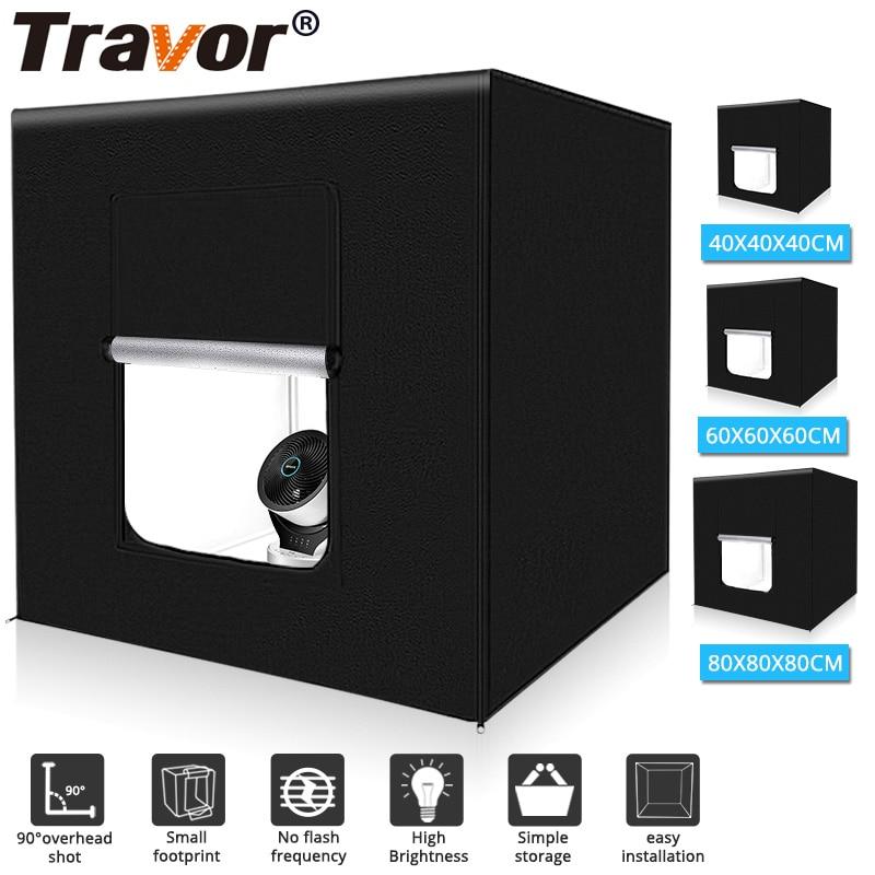 Travor صندوق إضاءة 40 60 80 سنتيمتر المحمولة سوفت بوكس صور صندوق إضاءة خيمة مع 3 ألوان خلفية ل استوديو التصوير صندوق مصباح ليد