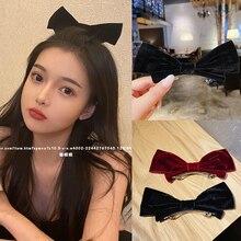 Pan Yurun Same Style Black Bow Tie Top Clip Cute Red Hairpin Korean Velvet Hairpin Internet Celebrit