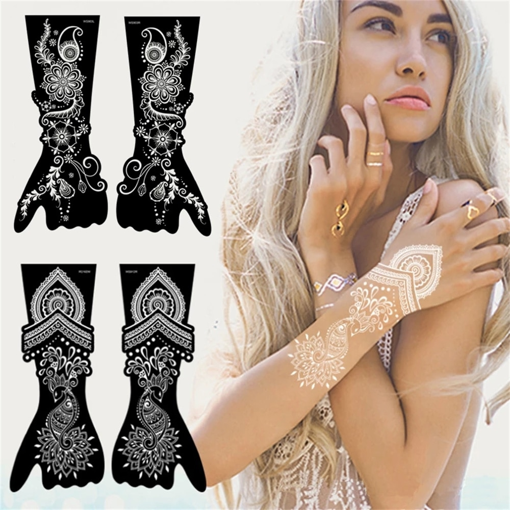 Newest Indian Henna Rose Lace Flower Tattoo Stencil Women Diy Body Leg Arm Art Airbrush Painting Mandala Template