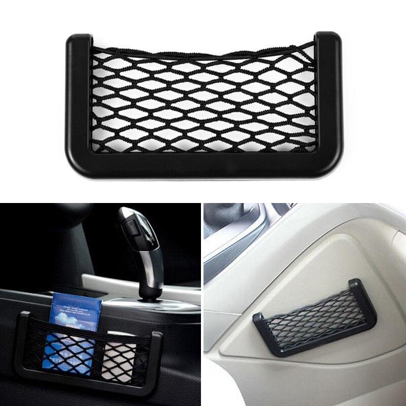 1X bolsa de almacenamiento para automóvil bolsillo de la jaula de malla de red para Audi A4 A3 Q5 Mercedes Benz W211 W204 W212 BMW E39 E46 E60