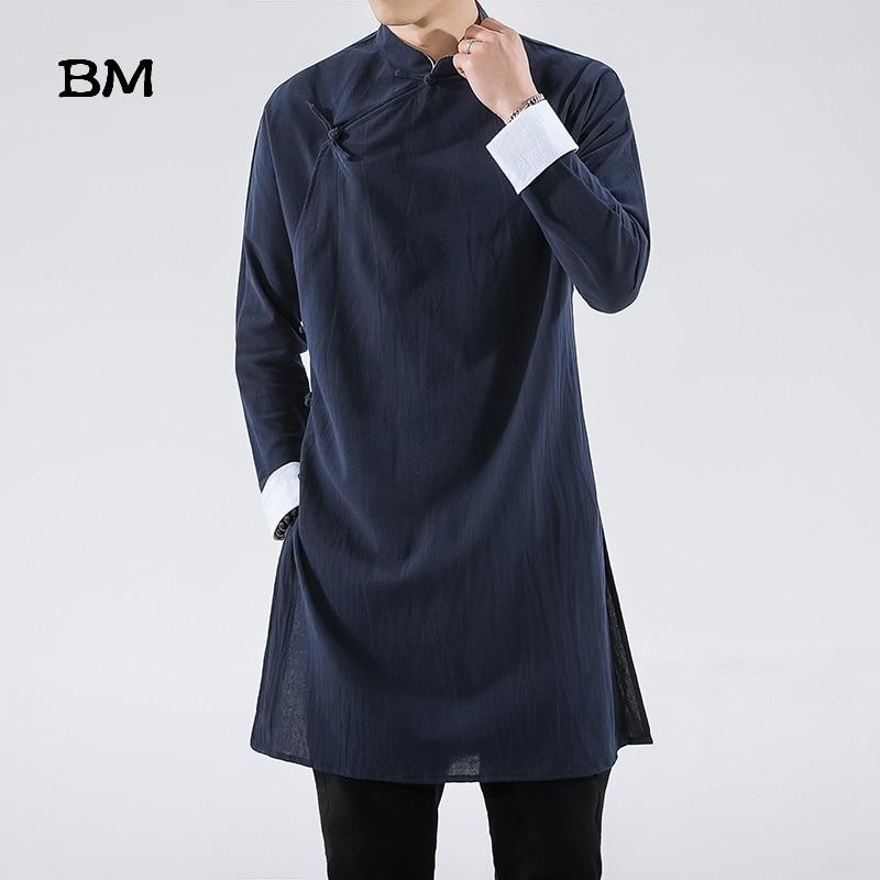 Streetwear Thin Tang Suit Coat Men 2020 Mens Linen Jacket Black Long Coat Male Hanfu Chinese Style Robe Harujuku Wind Breaker