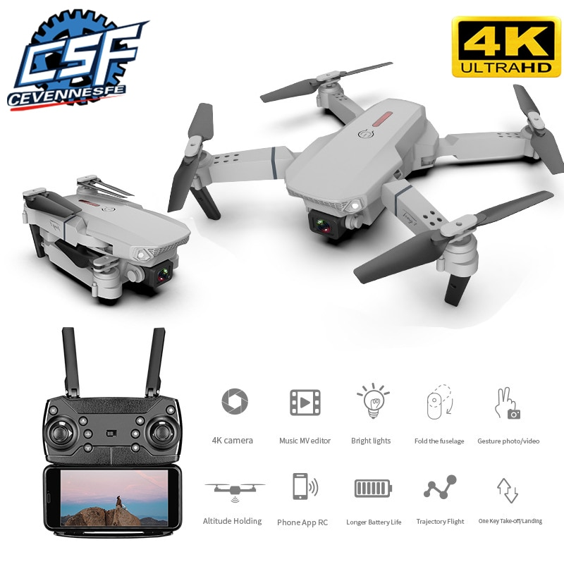 2021 New E88 drone/ Aerial 4k high-definition dual-camera wide-angle head four-axis aircraft remote control folding aircraft
