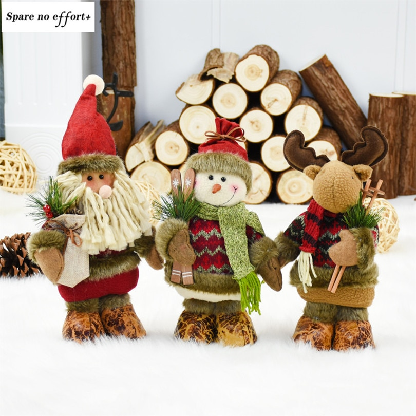 Рождественские фигурки деда мороза, снеговика, оленя, Рождественские куклы, вечерние украшения для дома, новогодние подарки