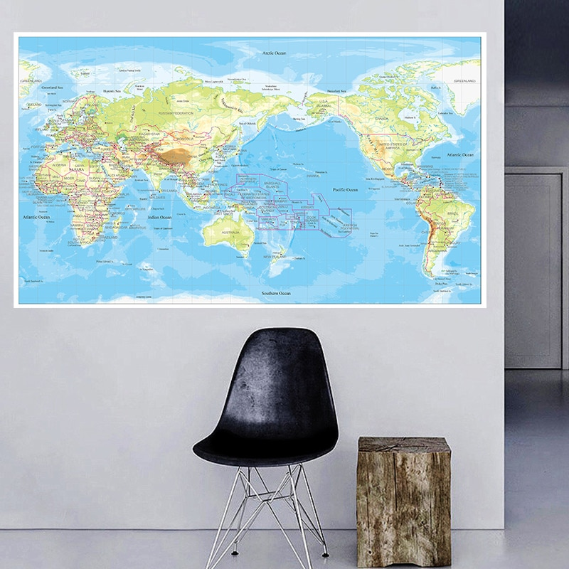 225*150 cm The World Orographic Map Non-woven Canvas Painting Vintage Wall Art Poster Home Decoration School Supplies In English
