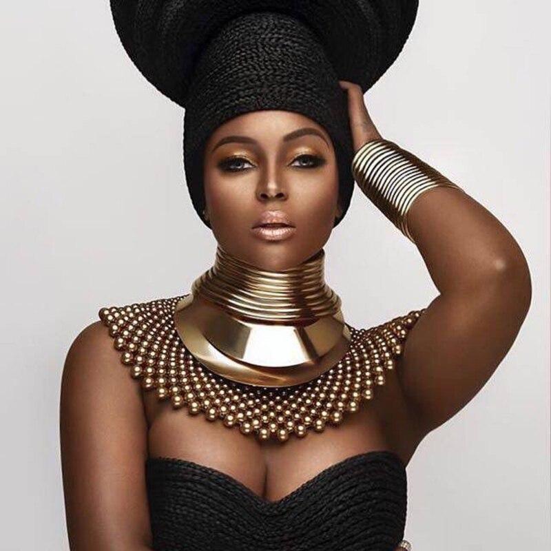 Afryki Bib momenty Chokers naszyjniki dla kobiet oświadczenie metalowe geometryczny kołnierz naszyjnik indyjski biżuteria Design Boho UKMOC