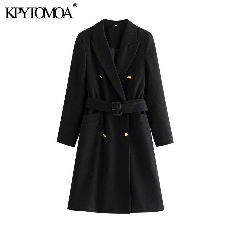 KPYTOMOA 여성 2020 패션 벨트 더블 브레스트 모직 코트 빈티지 긴 소매 주머니 여성 겉옷 세련된 외투