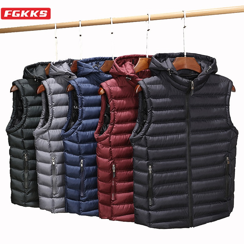 FGKKS New Men Hoodies Vest Casual Brand Men's Harajuku Style Solid Color Vest Turn-Down Collar Fashion Vest Coat Male winter new style ladies stand up collar lightweight down vest casual style down vest women s big pocket fashion solid color vest