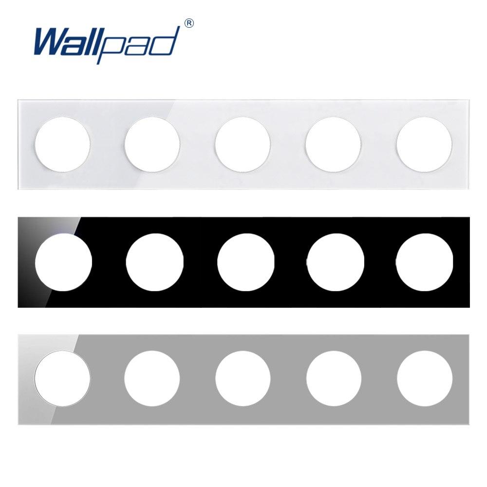 Panel de vidrio templado Wallpad 5 solo 430*86mm círculo redondo blanco y negro