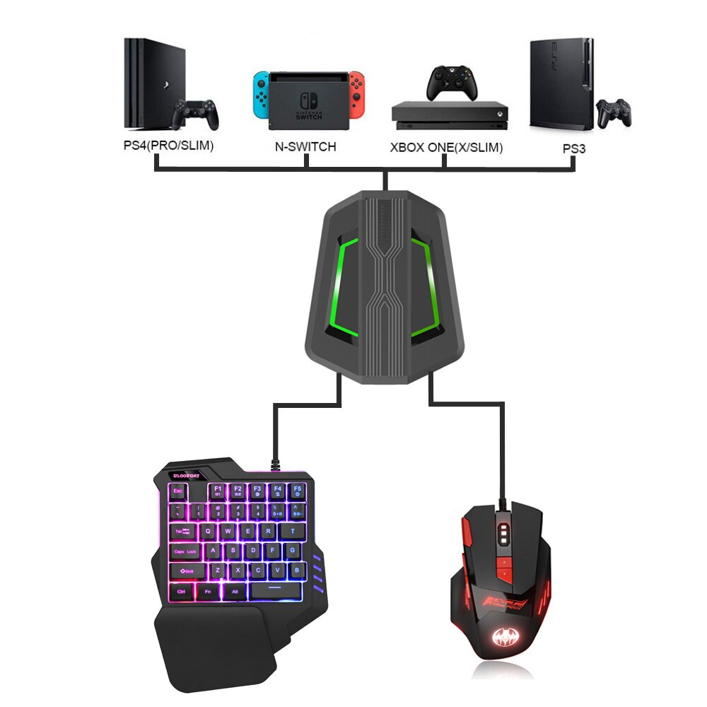 RGB الألعاب لوحة مفاتيح وماوس محول مجموعة ل PS4/Xbox One/Xbox 360/PS3/نينتندو سويتش ، RGB الألعاب كومبو ل لعبة وحدة التحكم