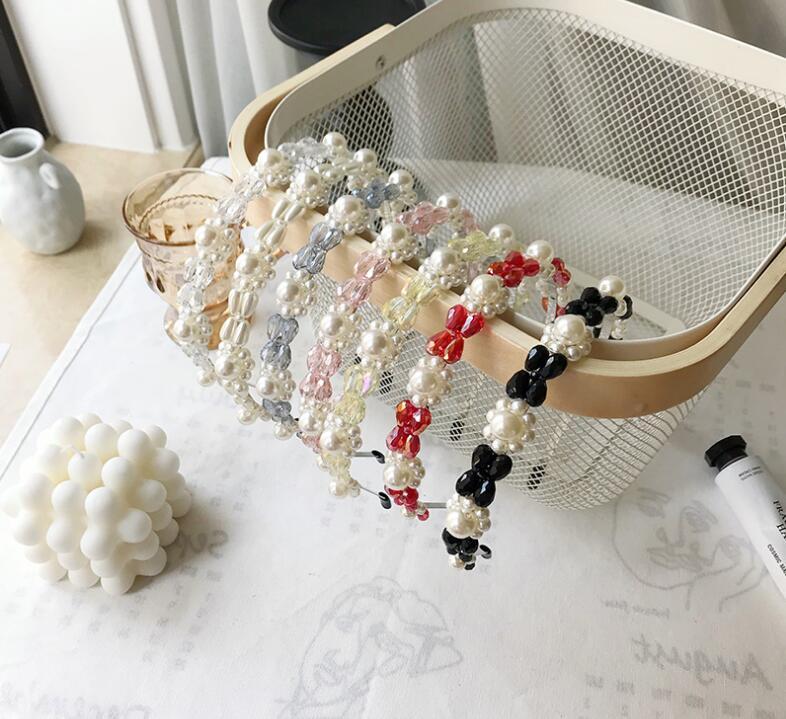 Coreano chic mujeres accesorios de moda flor perla cristal accesorios para el cabello