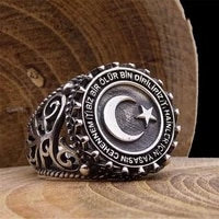 unique round metal star moon mens ring for party wdiing jewelry male letters hip hop rings accessories size 6 13