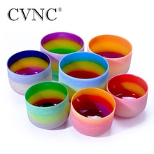 CVNC 6-12 pouces 7 Chakra arc-en-ciel Quartz cristal chantant bol CDEFGAB ensemble