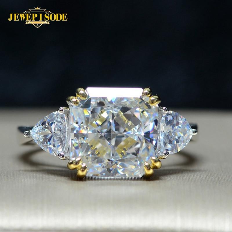 Anillos de Compromiso de boda Jewepisode exquisito 10MM cuadrado creado moisanita anillo de diamante de joyería de plata de ley 925 100% auténtica